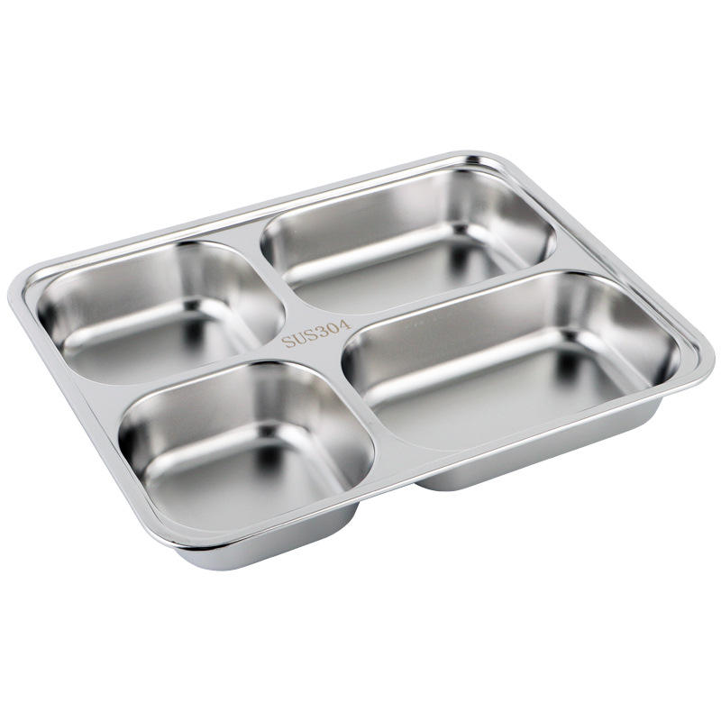 Darware Cafeteria Mess Trays Stainless Steel Rectangular 3/4/5 Compartment Divided Plates Cafeteria Food Trays