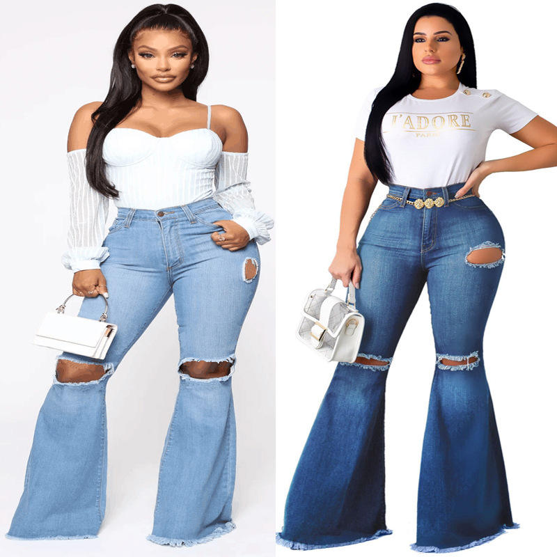 Factory plus size stretch high rise waist blue long slim skinny sexy spandex women flare denim ripped bell bottom jeans