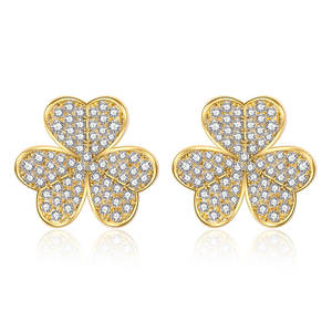 2020 Delicate micro pave zircon lucky earring women jewelry with 925 silver needle 18K gold clover stud earrings wholesale