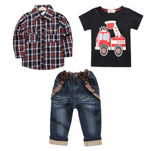 Share Ready to Ship In Stock Fast Dispatch Fashion kids clothing fall applique outfits vetement enfant boys 3 pcs sets