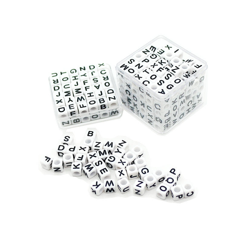 Wholesale Plastic Spacer Alphabet Beads Handmade Accessories 6mm Square Letter Beads for Beads Necklace