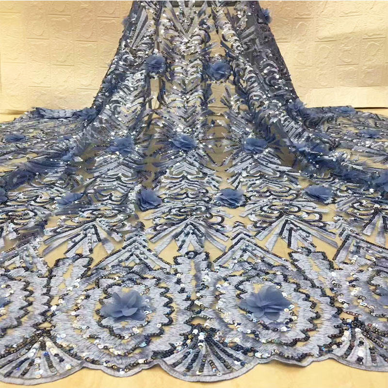 Elegant blue african bridal lace fabric latest 3d shining sequins french lace material cheap wedding beaded lace for 8 colors