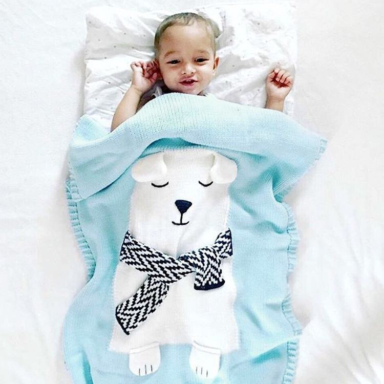 Wholesale acrylic 3D ear blanket knitted bed sheet baby crochet quilt