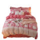 warm soft silky solid color pink lace design 5D crystal velvet Hello Kitty 3D comforter hand embroidered bedding set