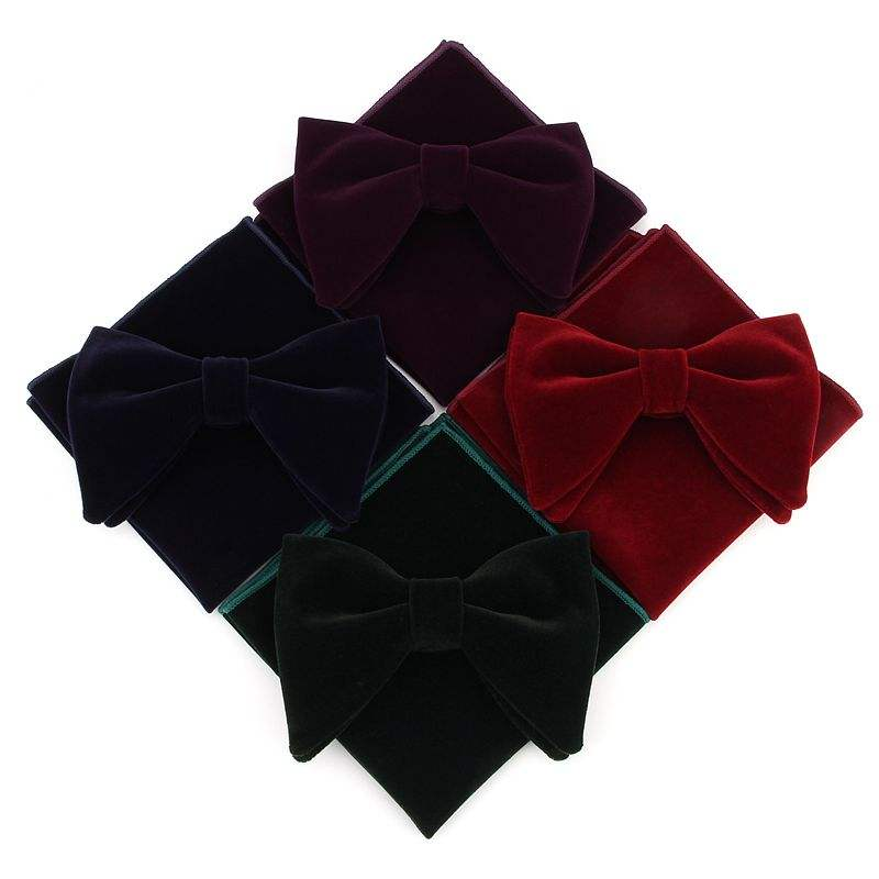 Men's Pre-Tied Oversized Tuxedo Velvet Hanky Bowtie Set solid bow tie hot selling corbata handkerchief set