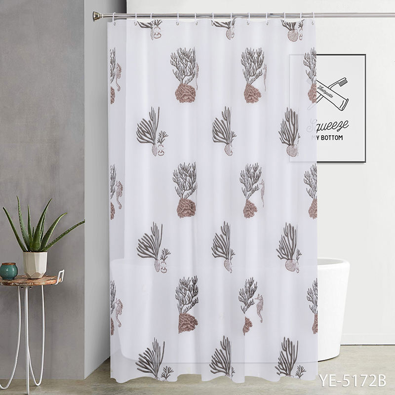 Luxury Cat Printed Hook Set Bathroom Peva Custom Bath Shower Curtain Liner