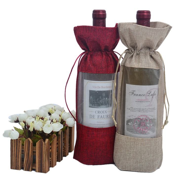Clear Window Vlas Jute Gift Wijnfles <span class=keywords><strong>Zakken</strong></span> voor Rode Wijn Champagne Wedding Party Favor Bag Jute Wijn Doek
