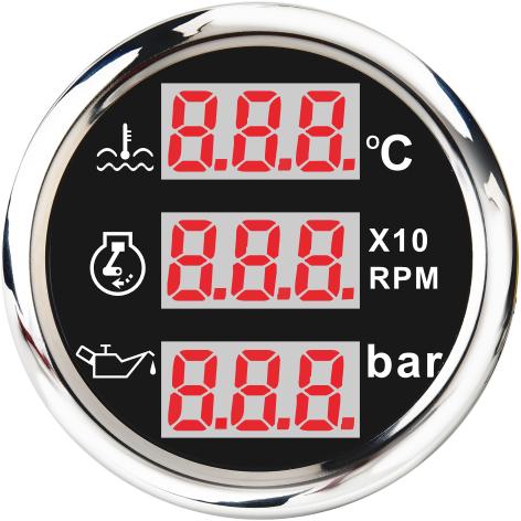 52mm Digital Multi-function Meter 3 In1 RPM Water Temperature Meter Oil Pressure 10Bar
