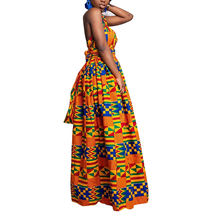 Spring and summer  New African Ethnic Sleeveless Rainbow Striped Mid-length Casual dashiki dresses