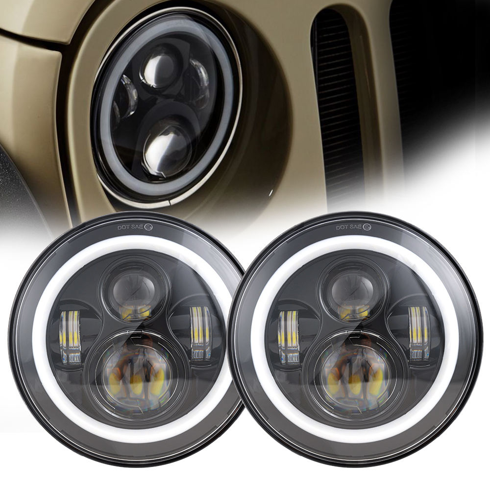 "DOT Approval 7"" Round Led Headlight For Jeep Wrangler JK High Low Beam DRL Led Halo Lights For Land Rover Defender"