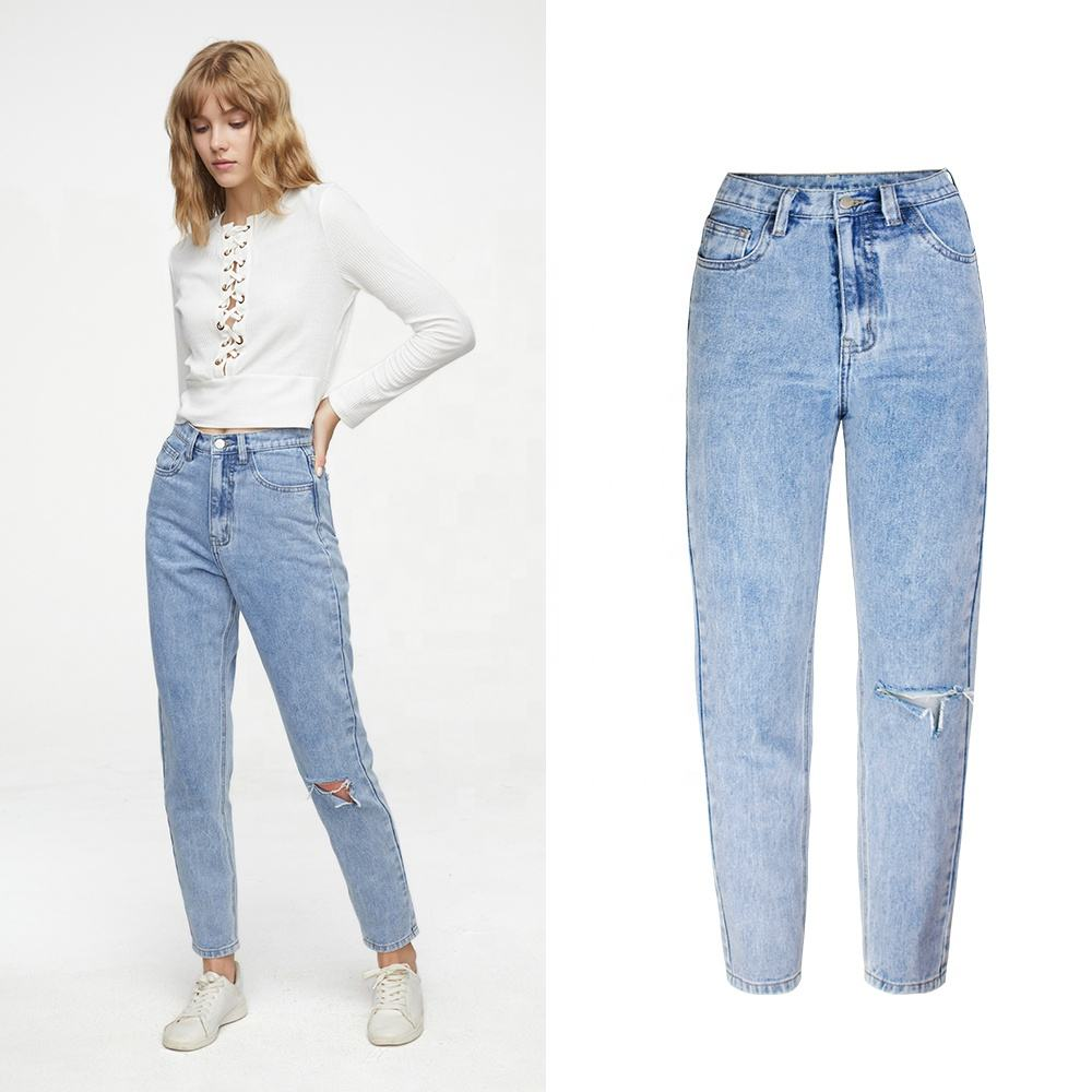 China wholesale Classic High Waist Jeans Vintage Boyfriend Jeans for Women Ripped Denim Jeans