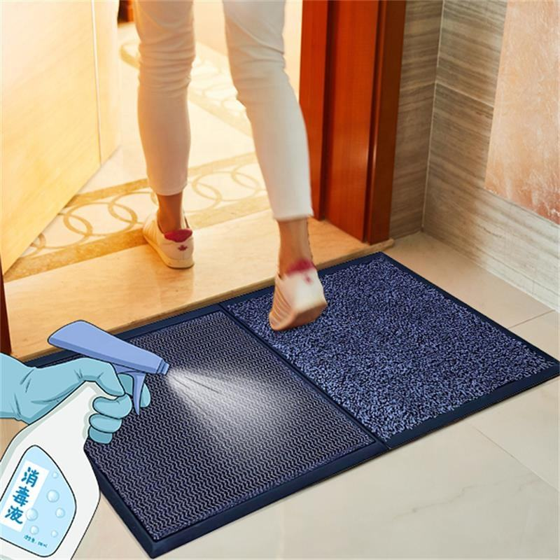 Easy to clean super absorbent water machine washable front outside 2 step shoe sanitizing door mat