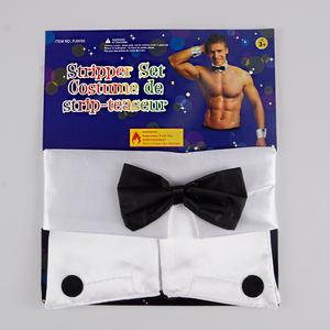 Stripper Dress Up Set Collar Cuffs Bow Tie Adults Fancy Dress