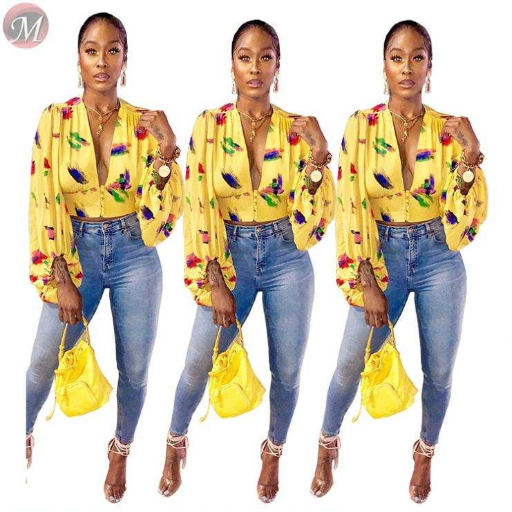 9092626 wholesale fashion V-neck lantern sleeve print ladies clothing women crop top blouse