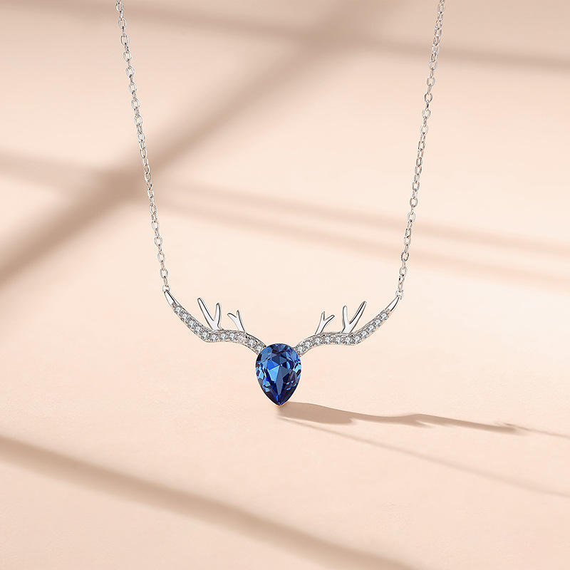 2020 Christmas Deer S925 Sterling Silver Elk Embellished Blue Crystal Elements Necklace from Swarovski