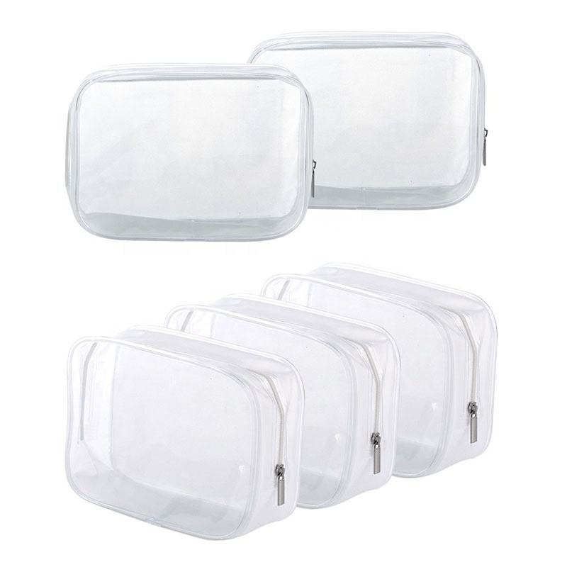 OEM ODM hot seller transparent frosted plastic Heat Seal sewing zipper travel custom clear pvc cosmetic bag