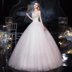 Princess Bride one word shoulder long sleeve luxurious French fish tail slim wedding dress