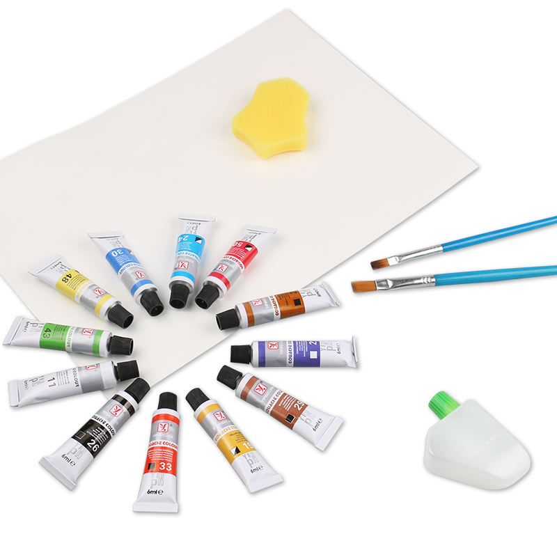 Cheap price 12 colors art supplies drawing water colour paint brush set acrylic