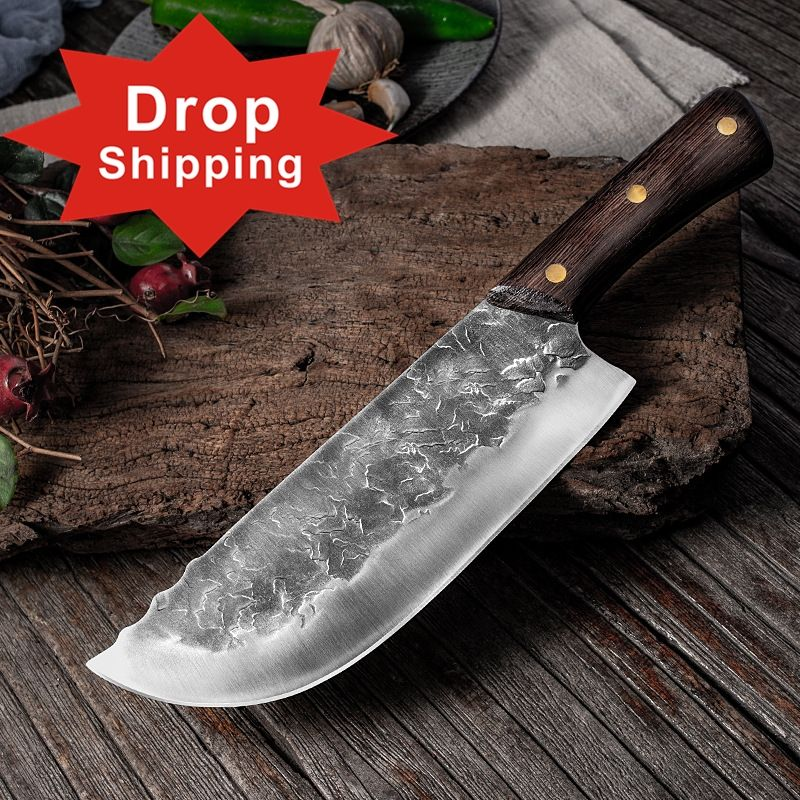 Dropship 8 inch Handmade Full Tang Forged High-carbon Steel Wenge wood handle Kitchen Knives Chinese Chef Cleaver Butcher knife