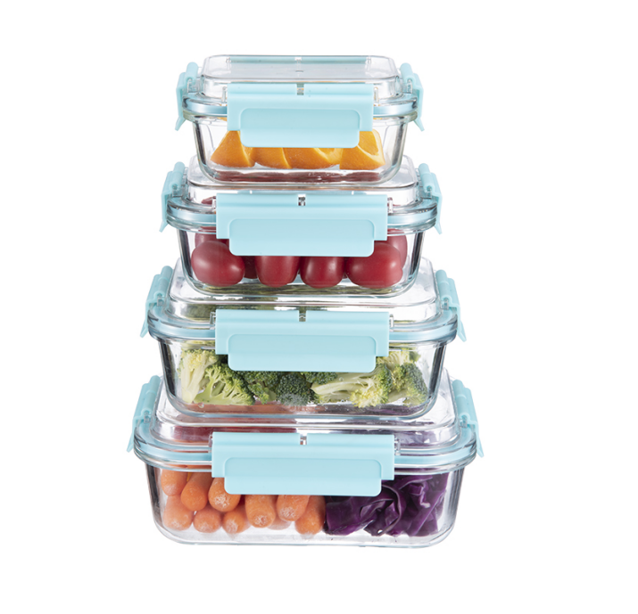 Airtight food storage container bpa free glass box for food