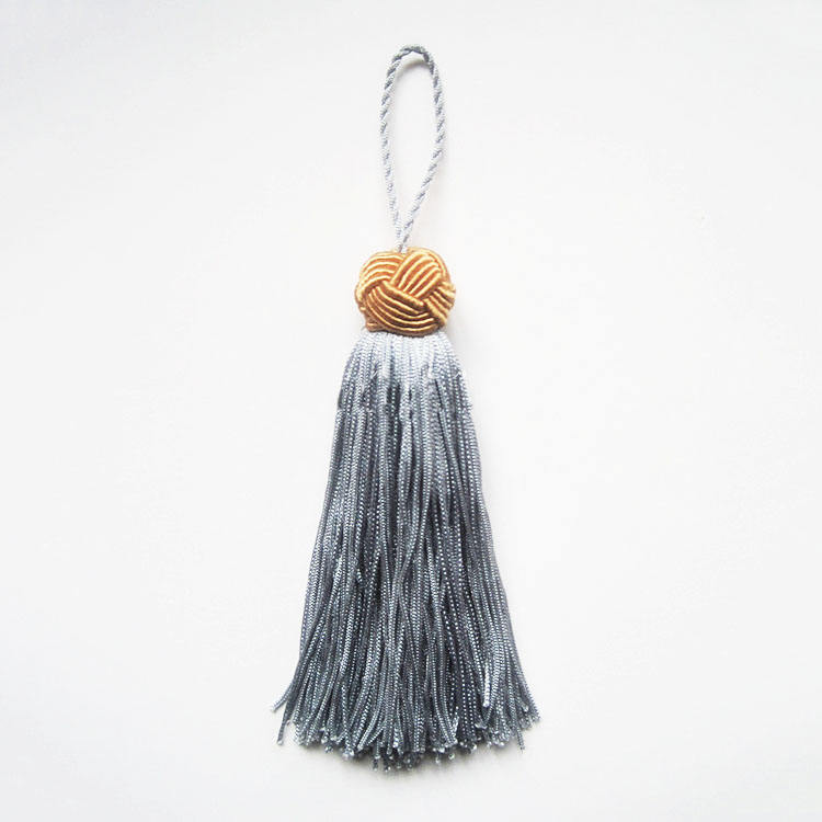 Blue knotted chainette key tassel wholesale, tassel making manufacturer