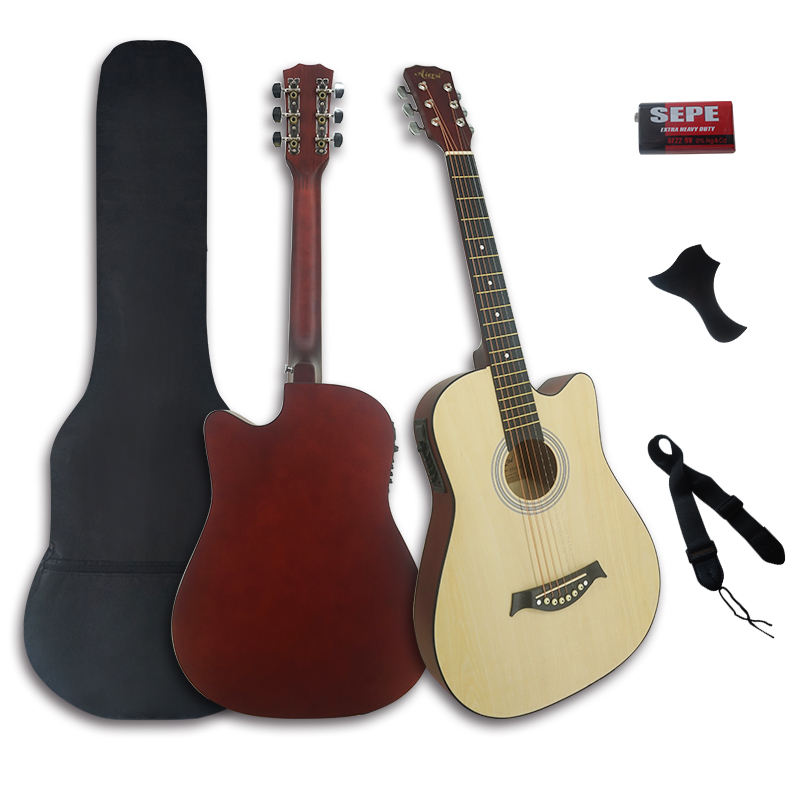 wholesale price OEM OEM Aiersi brand 38 Inch basswood colour electric acoustic guitar string instrument folk guitars for sale