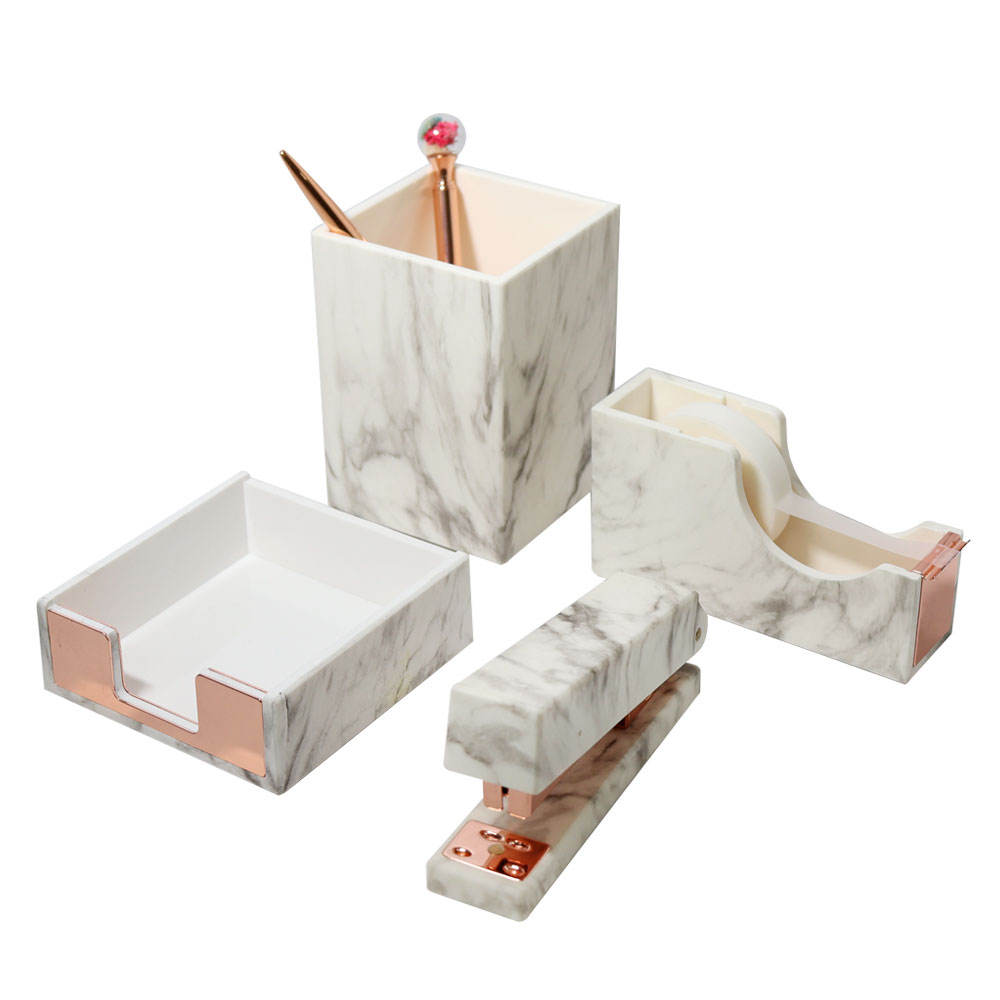 4 pcs ABS Marble White Texture Desk Accessories Organizer Rose Gold Office Supplies