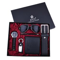 Man Belt Sunglasses Wallet Cylindrical Pen Watch Key Chain Exquisite Business Gift Set