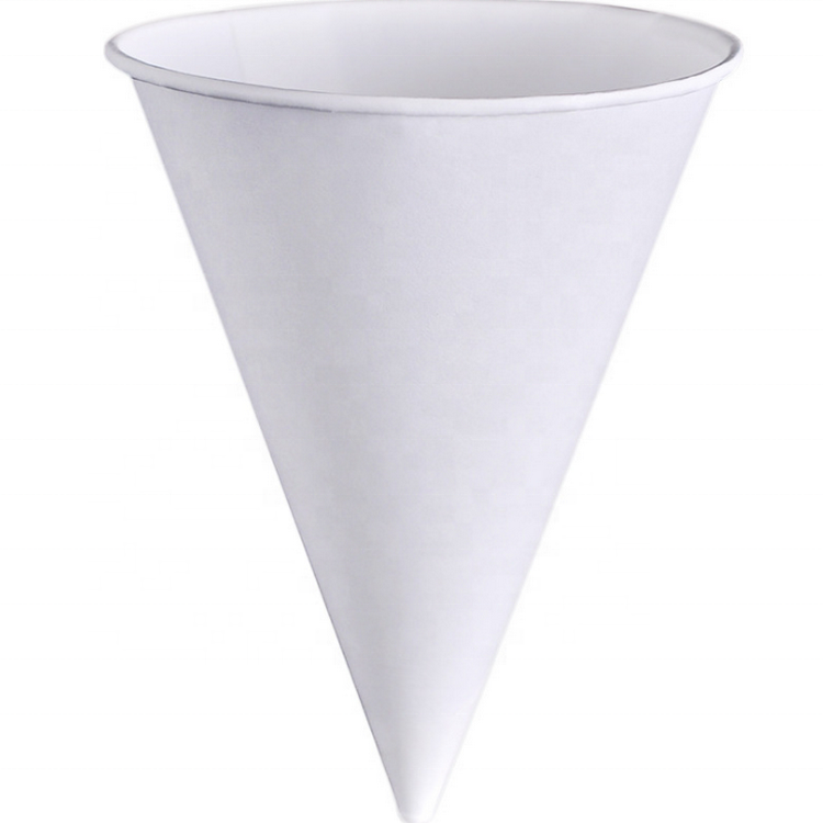 Wholesale Custom 3.7 OZ 100% Biodegradable Disposable White Cone Paper Water Cups