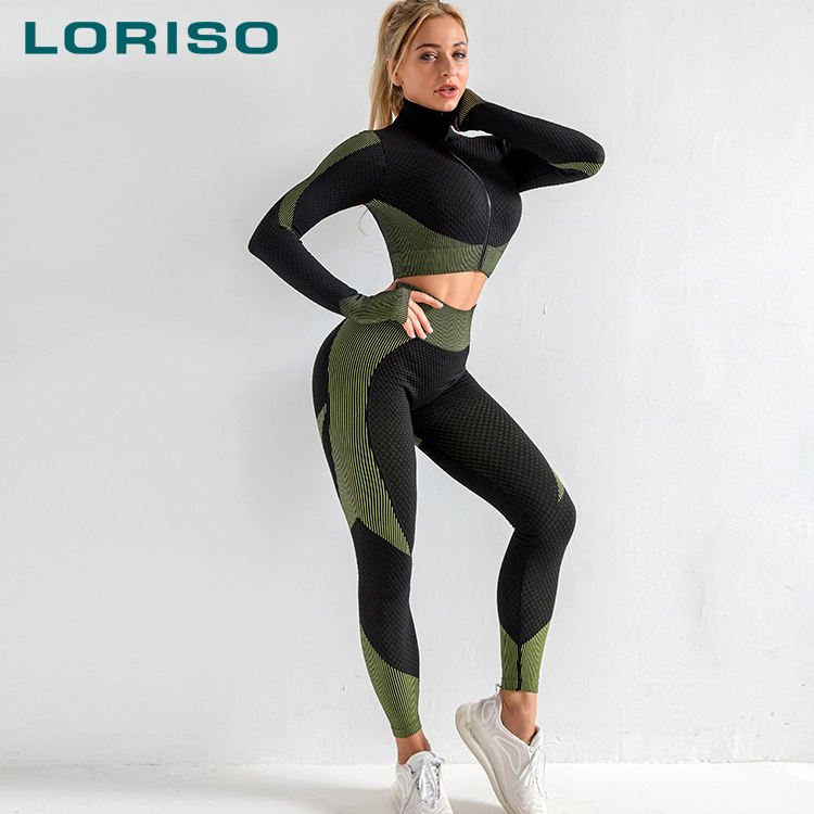 Custom women 3xl seamless jacket and legging set plus size yoga wear XL 2 piece set activewear gym training suits for women