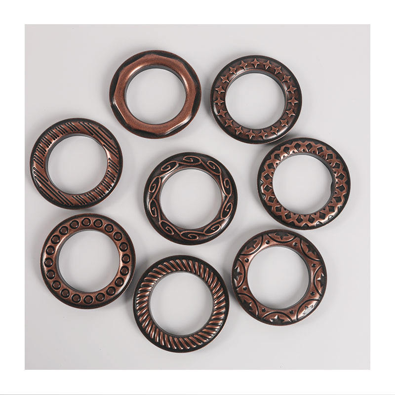 40mm Antique Brass Copper metal curtain ring eyelet with clip for curtain