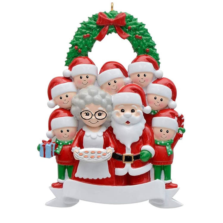 Family of 9 Personalized Christmas Ornaments Santa and Mrs. Claus Plus Two Elves Ornament Grandparents Gift