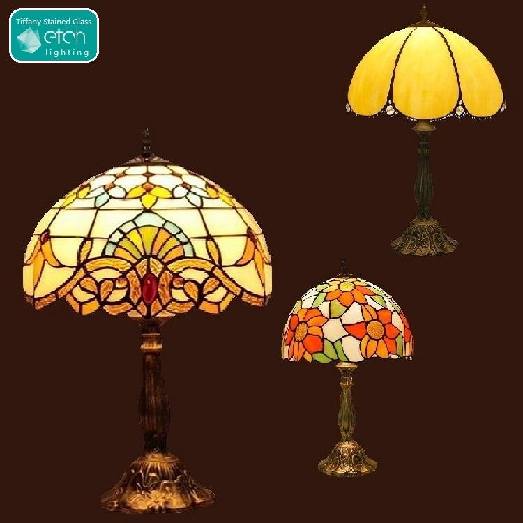 Etch di Illuminazione 30 centimetri <span class=keywords><strong>Lampada</strong></span> Ombra Antico Stained Glass Lampara Tifany Stile Vintage Tavolo Lampadina Tiffany Lampe