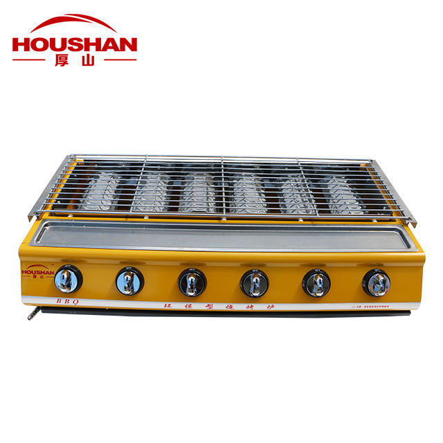 Commercial 6 Ceramic Plate Burner In Bottom Gas BBQ Kitchen Cooking Equipment