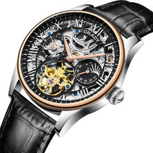Factory price custom logo sport thin automatic skeleton watch mechanical movement swiss men wristwatch with 3 atm