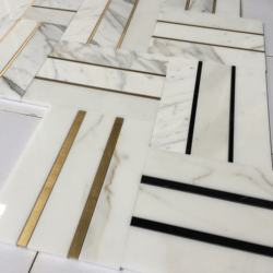 Luxury tile flooring brass tile inlay with marble waterjet mosaic