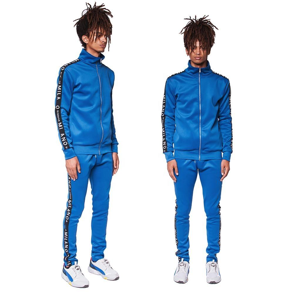 2021 Wholesale sweat suits sportswear men plain fitted tracksuit
