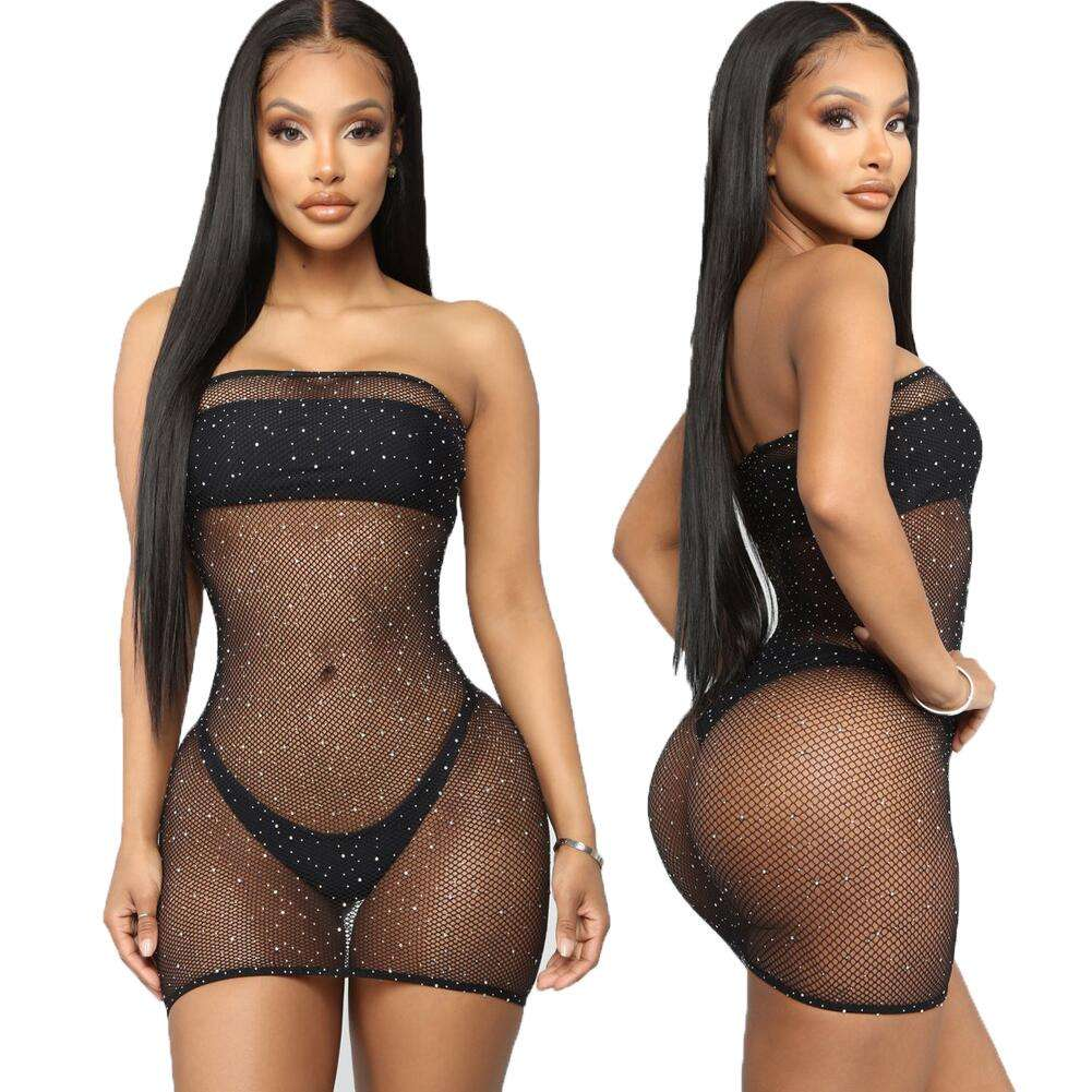 Aimitoy Fishnet Rhinestone Teddy Bodysuits Catsuit Sexy Lingerie Women Erotic Bodystockings Intimates Mesh Babydoll