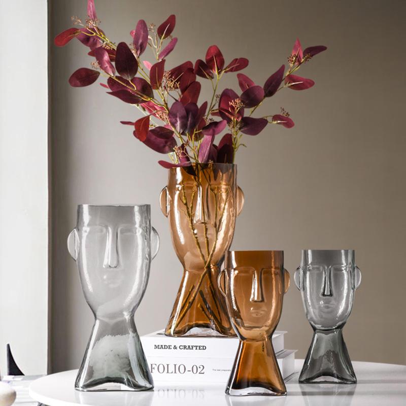 Decoración de casa mucho tiempo solo tallo lámparas jarrón para flores florero de vidrio soplado decorativo cobre Dubai florero