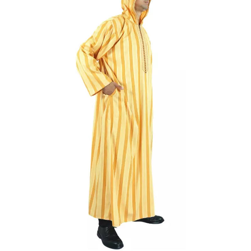 New Muslims Dubai kaftan Morocco With hood Islamic man Cotton and linen striped robes