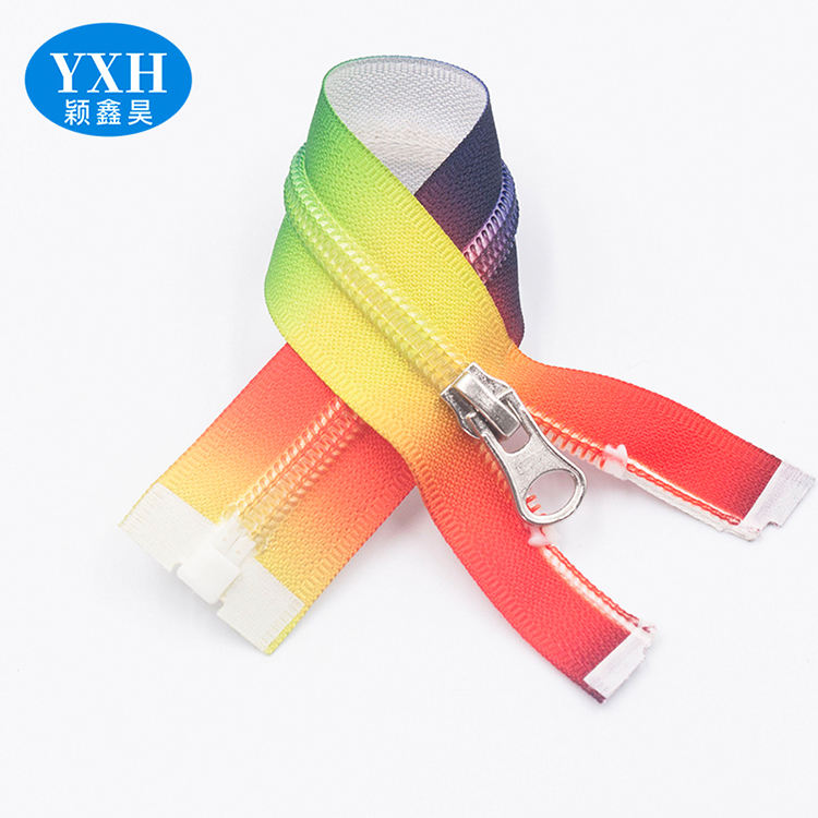 Closed End fashion rainbow colored weldable waterproof TPU tape 5 nylon zipper roll for bag