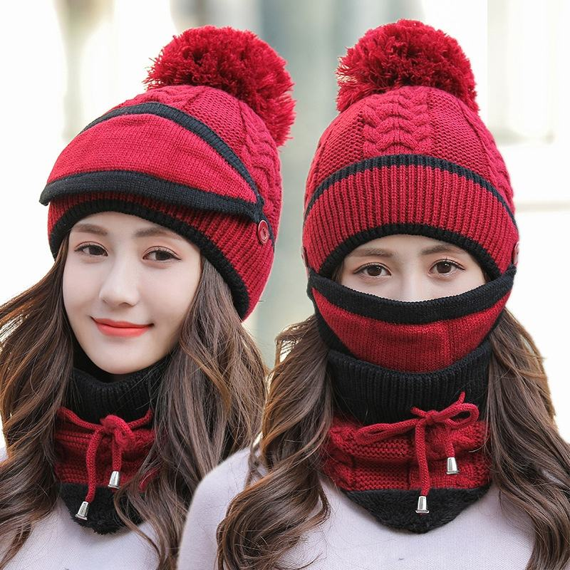 Women Winter Hat Scarf and Mask Three Piece Suit Fashion Warm Windproof Earflaps Lady Kitted Pom Beanie Sets