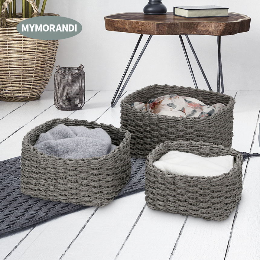 Natural Paper Rope Woven Baskets Set Storage Baskets For Kids' Toys Sundries Storage Box