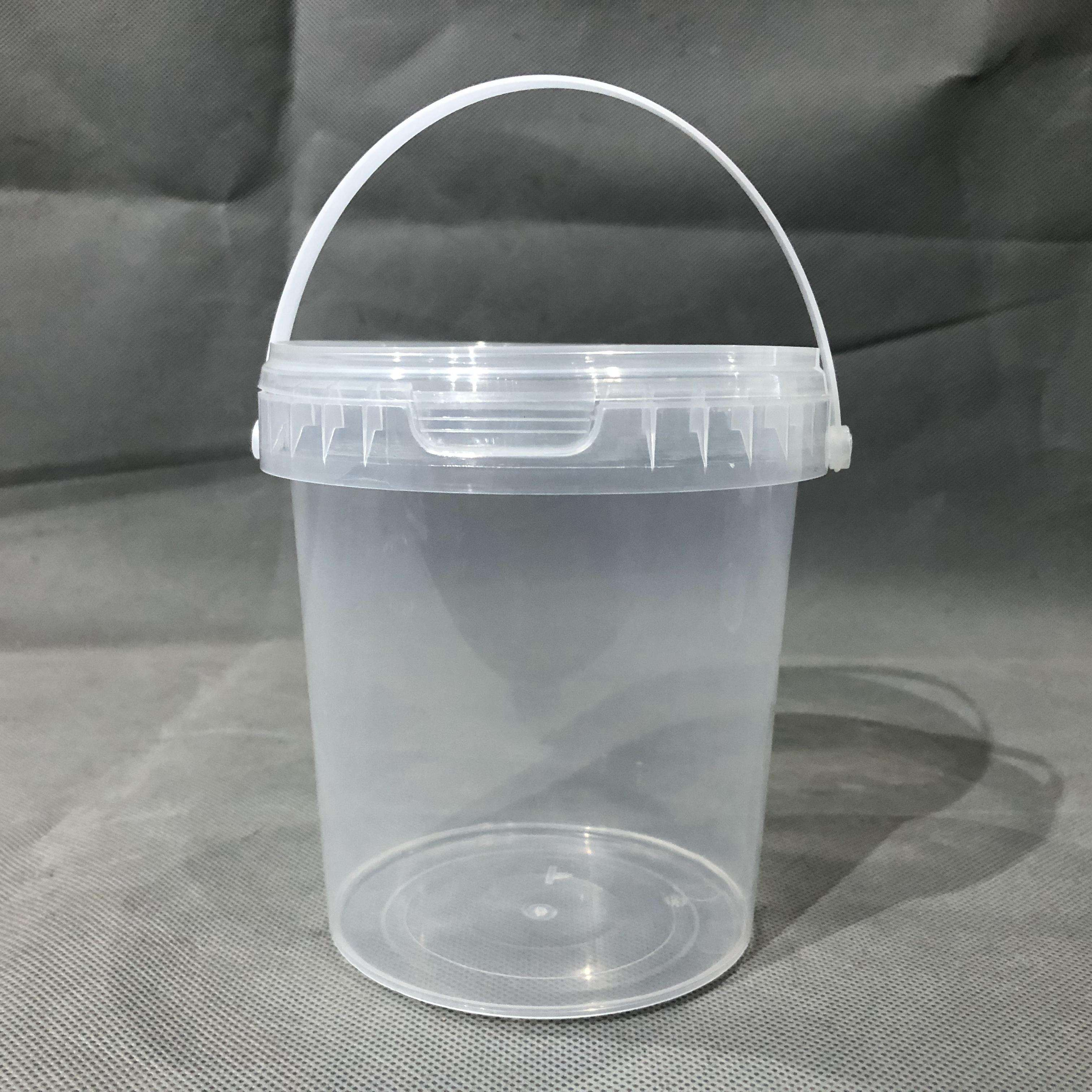 High Quality Bpa Free 0.8l Drinking Plastic Bucket Ice Cream Bucket With Lid And Handle