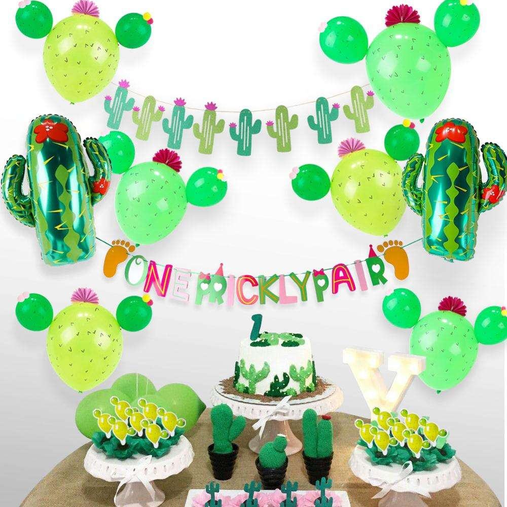 Cactus Party Twin Baby Shower Decorations Foil Latex Balloon Paper Flowers Twins Banner for Luau Hawaii Birthday Party Decor