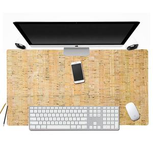 Custom eco-friendly cork leather gaming mouse pad mat with dual-sided desk pad large cork office laptop desk writing mat