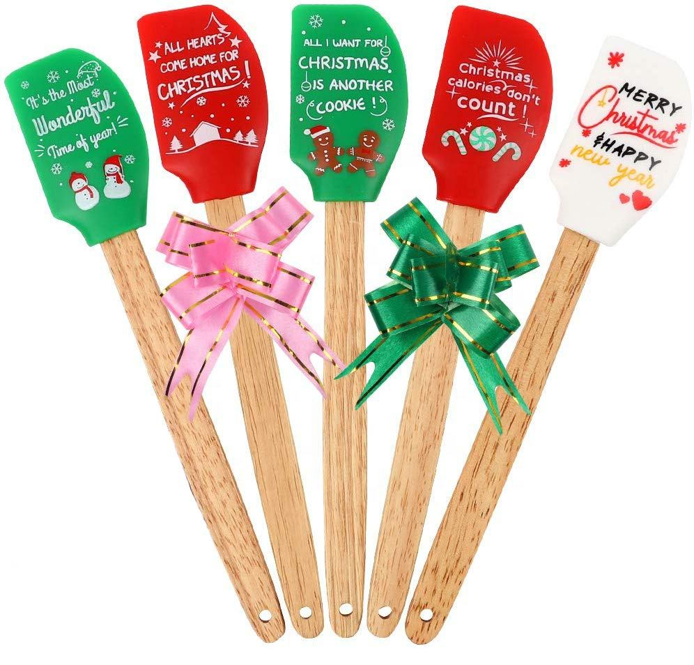 6Packs Great Printing Christmas Silicone Spatula Gift Set With Natural Wooden Handle
