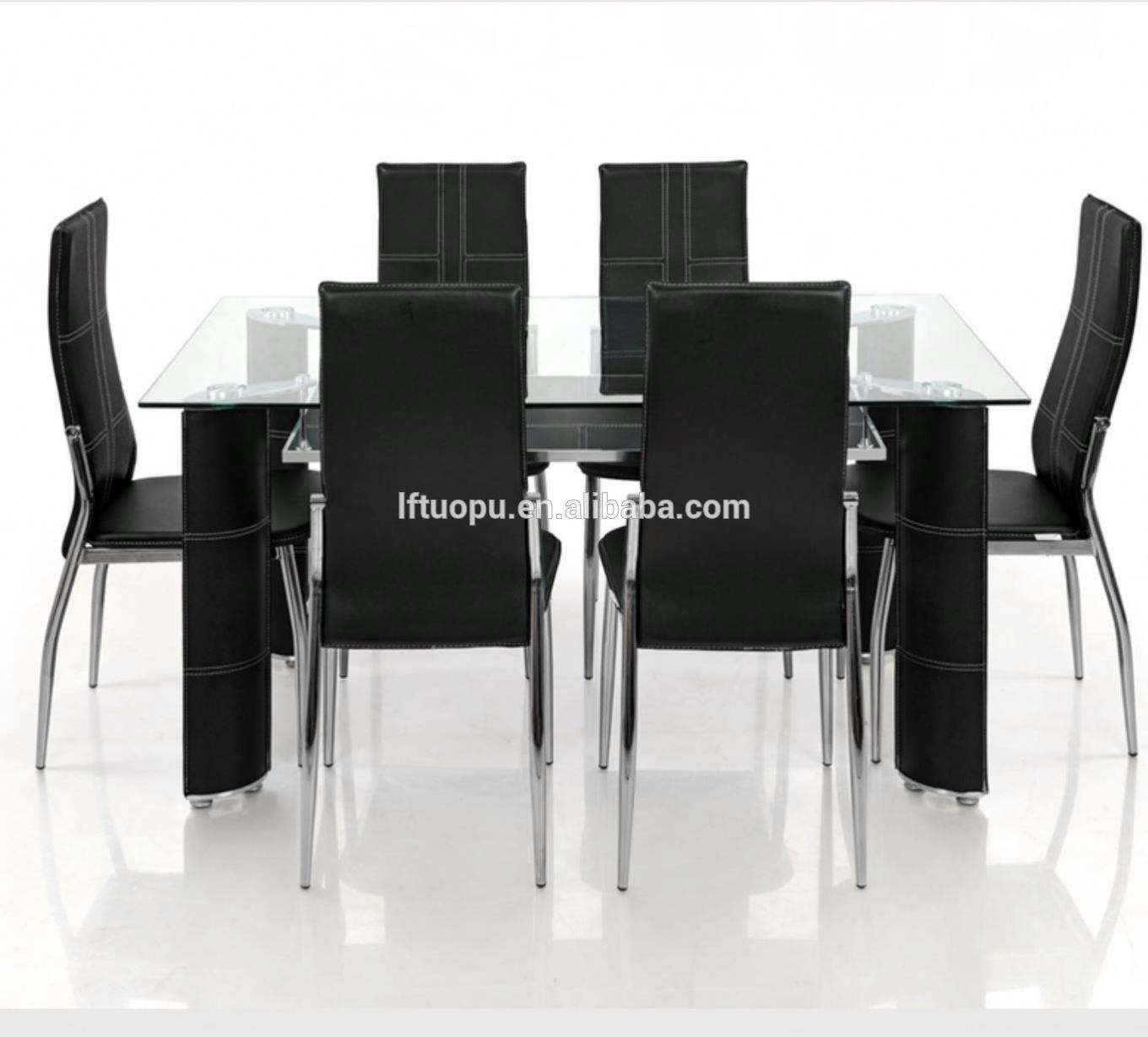 Fresh sample simple model hot selling cheap price tempered glass dining table with metal legs