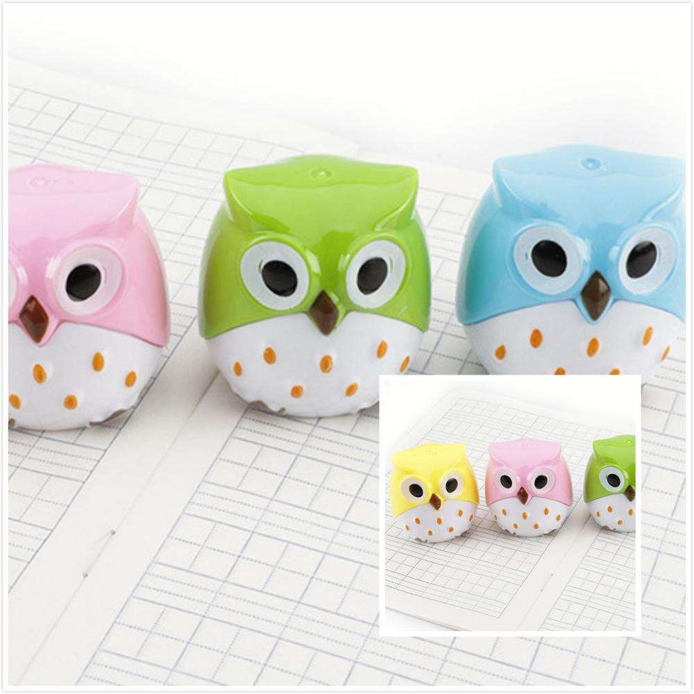 Student Supplier Cute owl pencil sharpener double hole pencil sharpener