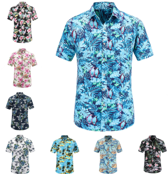 custom wholesale cotton Digital printing men's hawaiian shirts